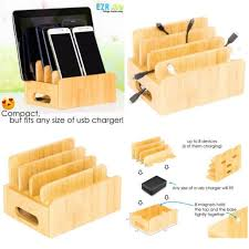 universal cell phone charging station organizer wooden real bamboo eco friendly