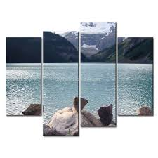 3 piece wall art painting lake louise canada snow mountain blue lake some fancy stones on on 3 piece wall art canada with 3 piece wall art painting lake louise canada snow mountain blue lake