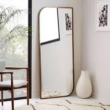 floor mirror. Metal Framed Asymmetrical Floor Mirror - Rose Gold