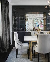 gray and white art deco dining room with velvet curtain art deco dining room