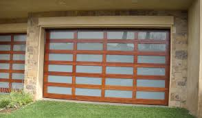 wood frame glass garage door