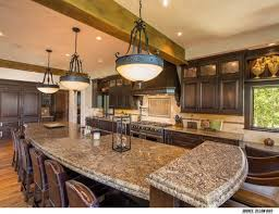 Small Long Kitchen Kitchen Kitchen Island With Grain Marble Countertops Also