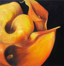 cala orange flower painting