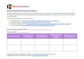 Reporting Needs Analysis Template Better Evaluation