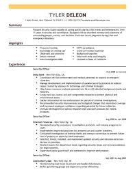 Resume Template Sample Security Guard Resume No Experience Free