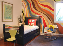Colorful Wallpaper for Cool Room Painting Ideas with Cute Arch Lamp near  Sweet Bed