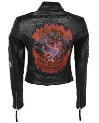 black ed hardy devil darlings leather biker jacket xs image