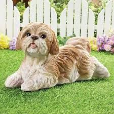 white shih tzu puppy dog garden statue