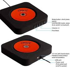 the wall mountable cd player with bluetooth speaker and player