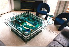 Stained Glass Coffee Table Abstract Upcycled Maid On The Moon Studio