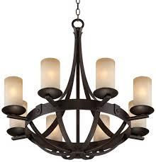 franklin iron works amber art glass 6 light chandelier