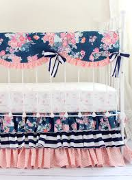 navy fl blend perless baby bedding set rail cover