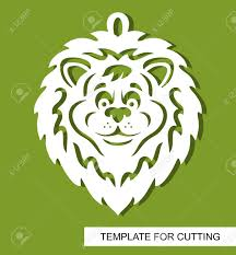 Cut Out Character Template Lion Head Silhouette White Cartoon Character On A Green Background