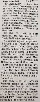 Beth Ann (Galle) Ball (1966-1990)   WikiTree FREE Family Tree