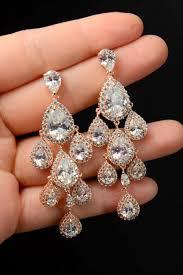 wedding earrings wedding jewelry rose gold bridal earrings rose gold chandelier earrings cz earrings wedding accessories bridesmaid