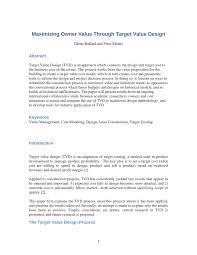 Target Value Design Pdf Maximizing Owner Value Through Target Value Design