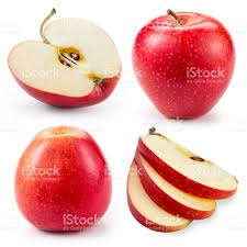 red apple slice. red apple.whole, half and slice isolated on white. collection. royalty- apple