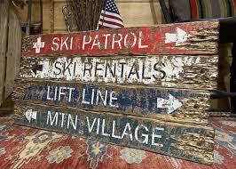rustic ski decor wood ski signs log