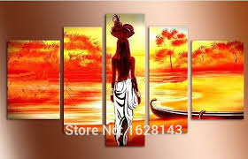 indian woman paintings 5 pieces modern landscape hand painted canvas art for living room home decoration oil painting d5p100 us 49 90 piece