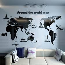 Us 14 85 45 Off New Arrival World Map Acrylic Mirror Wall Sticker Creative Household Office Diy Art Wall Decor Living Room Bedroom Decoration In