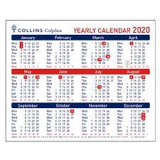 Collins Colplan Yearly Calendar A4 2020