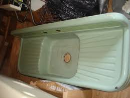 large ceramic or enameled sinks with drain board vintage cast iron sinks