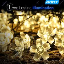warm white solar flower shape string lights annt 23ft 7m 50 led crystal lighting waterproof