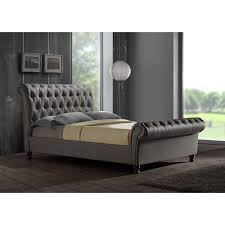 grey upholstered sleigh bed. Castello Button Sleigh Fabric Bed Frame Sticker Grey Upholstered