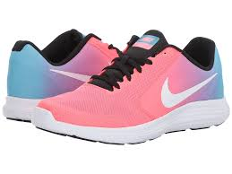 nike running shoes black girls. nike kids revolution 3 (big kid) (chlorine blue/white/racer pink running shoes black girls o