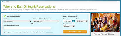 disney dining reservations online booking system