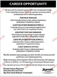 Purchase Manager, Guest Relation Manager Job Opportunity 2018 Jobs ...