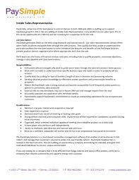 Inside Sales Representative Resume Sample Examples 2017 Peppapp