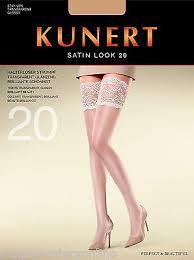 Kunert Satin Look Hold Ups 20 Denier Gloss Stay Ups Deep Lace Run Stop Toes Ebay