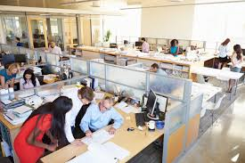 office building interior busy. Brilliant Office Interior Of Busy Modern Open Plan Office On Building R