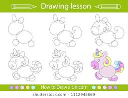 drawing lesson for children how draw a cartoon cute unicorn drawing tutorial with funny