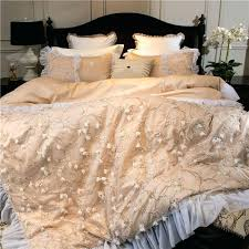 pink and gold comforter luxury embroidery bed linen pink gold cotton bedding set bedspread queen king size lace duvet cover sheet set 4 queen