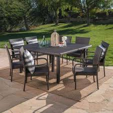 multi brown 9 piece wicker square outdoor dining set