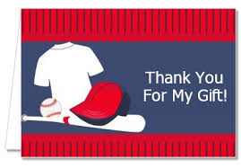 Birthday Party Thank You Cards Baseball Jersey Blue And Red Thank