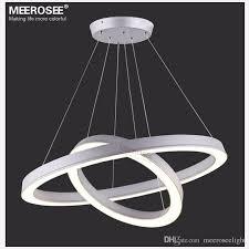unique round pendant chandelier modern led ring lamp fixture aluminum frame acrylic led round