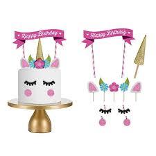 Jual Cute Unicorn Birthday Cake Topper Eyelashes Birthday Party Cak