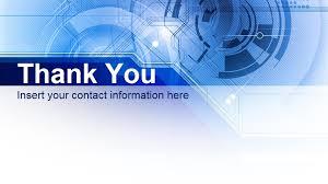 Thank You Slide Design Blue Technology Presentation Free
