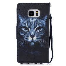 black cat pu leather wallet phone case for samsung galaxy s7 edge s7edge leather case guuds