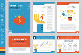 investment project book cover and presentation template with flat design elements ideal for pany information
