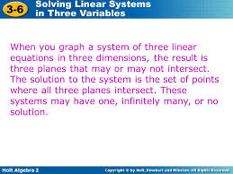 when you graph a system of three linear equations in three dimensions the result is