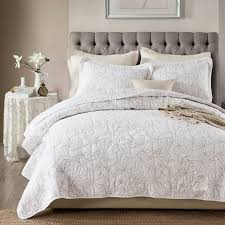 CHAUSUB White Coverlet Solid Color Quilt Set 3PCS Washed Cotton ... & CHAUSUB White Coverlet Solid Color Quilt Set 3PCS Washed Cotton Quilts  Embroidered Bedspread Bed Cover Sheets Adamdwight.com