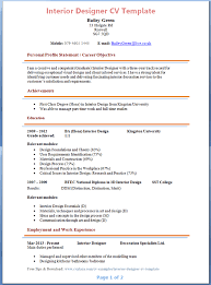 sample resume example template for interior designer resume with employment and work experience sample interior designer resume objective