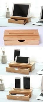 Wooden Bamboo Stationery Drawer Organizer iPad Phone Stand Holder Stand Pen  Pencil Holder Stand to organizer