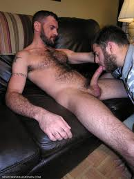 Hairy man gives blow job