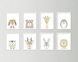 Neutral nursery decor - Cute nursery wall art - Nursery art set - Baby boy  nursery