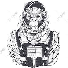 猿の宇宙飛行士のベクトル手描きのイラストチンパンジー 宇宙飛行士は